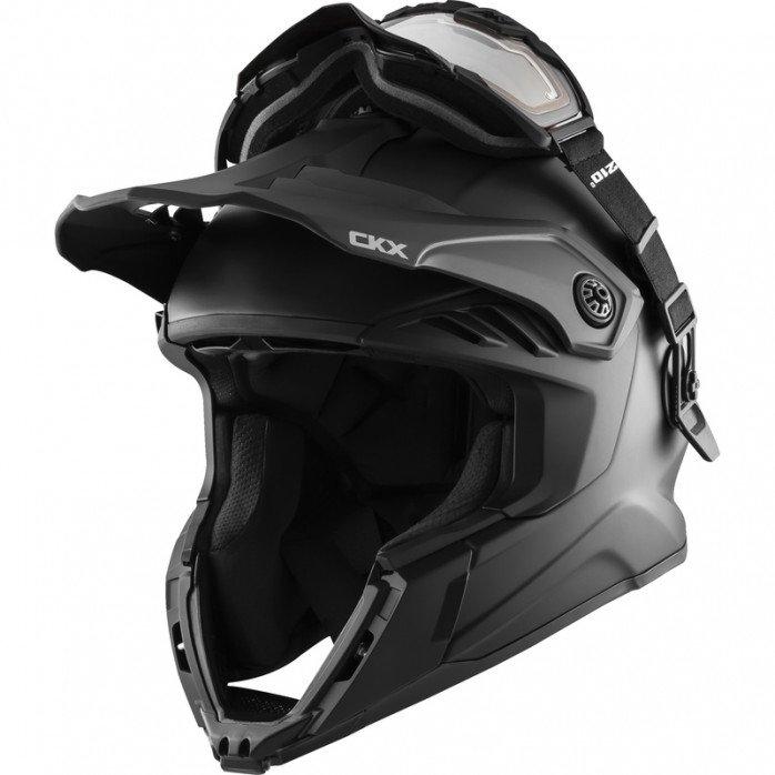 CKX Helmet + Goggles with electric lens TITAN Airflow Matt black XL