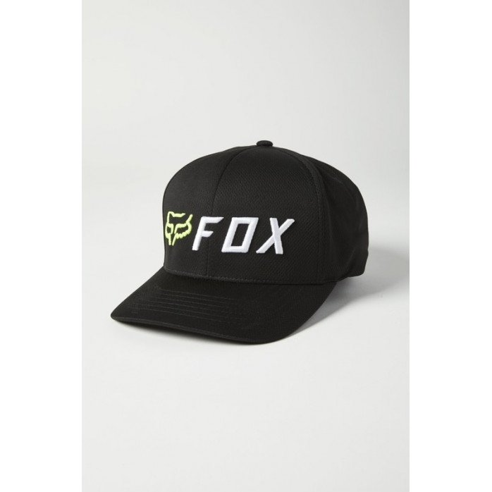 FOX APEX FLEXFIT HAT BLACK/YELLOW S/M