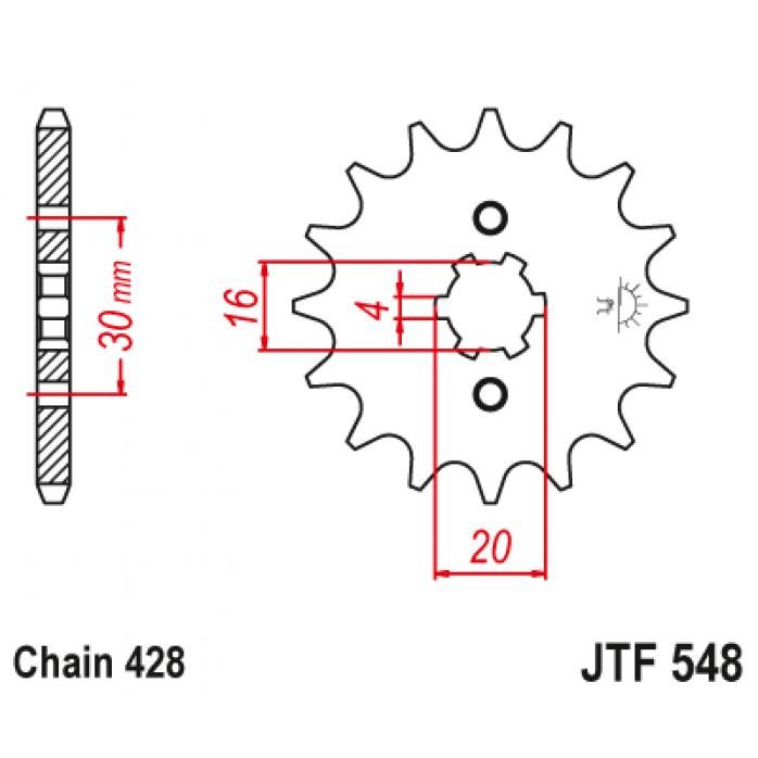 Priekinė žvaigždutė JTF548.13 YAMAHA TTR125 00-21