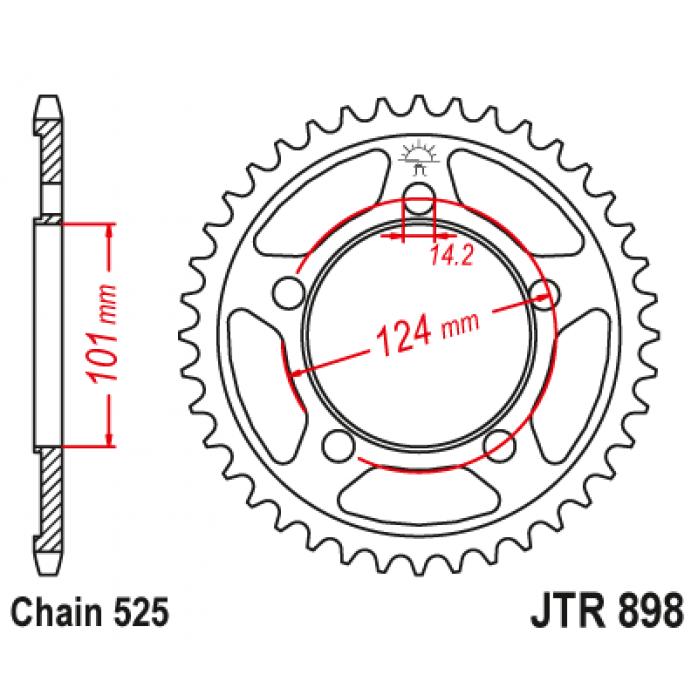 Galinė žvaigždutė JTR898.37 KTM 1190RC 08-10