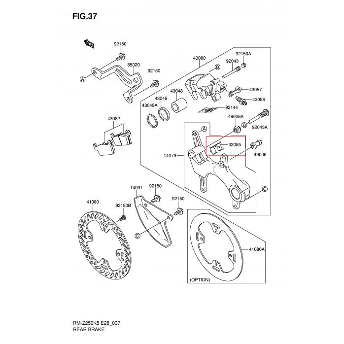 Galinių kaladėlių prispaudimo plokštelė SUZUKI RM-Z250 04-06