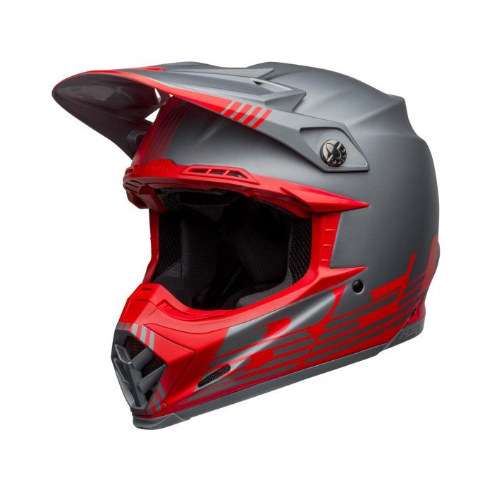 BELL Moto-9 Flex Helmet Louver Matte Gray/Red Size S