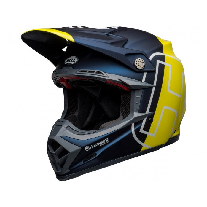 BELL Moto-9 Flex Helmet Husqvarna Gotland Matte/Gloss Blue/Hi-Viz Size XS
