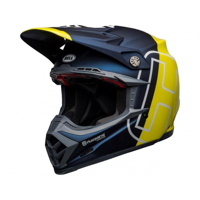 BELL Moto-9 Flex Helmet Husqvarna Gotland Matte/Gloss Blue/Hi-Viz Size XL