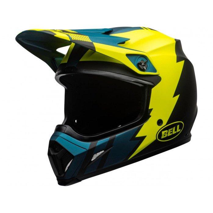 BELL MX-9 Mips Helmet Strike Matte Blue/Yellow Size S