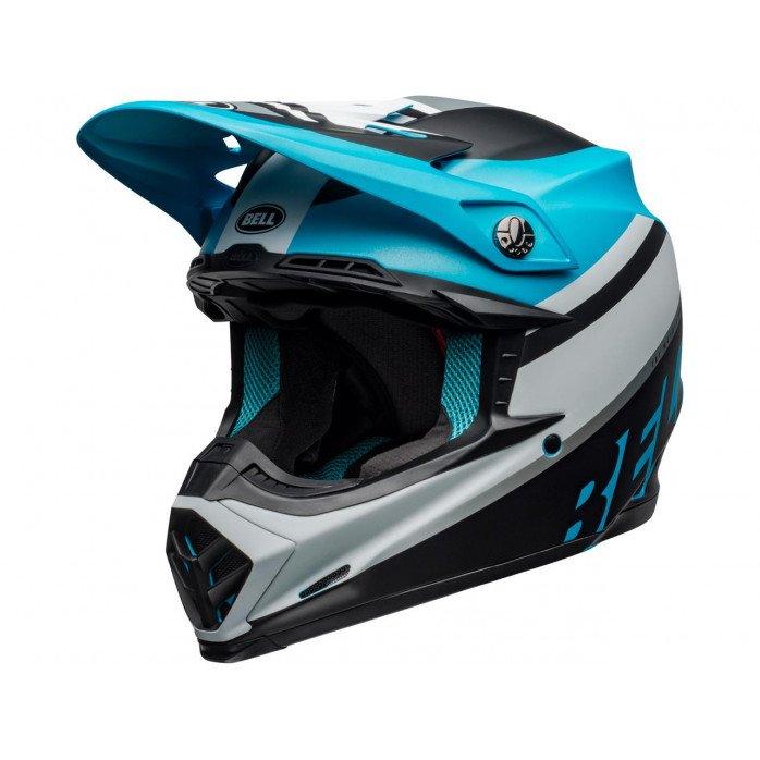 BELL Moto-9 Mips Helmet Prophecy Matte White/Black/Blue Size L