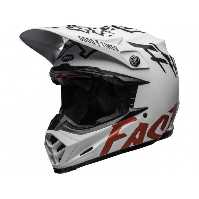 BELL Moto-9 Flex Helmet Fasthouse WRWF Matte Gloss White/Red Size XS