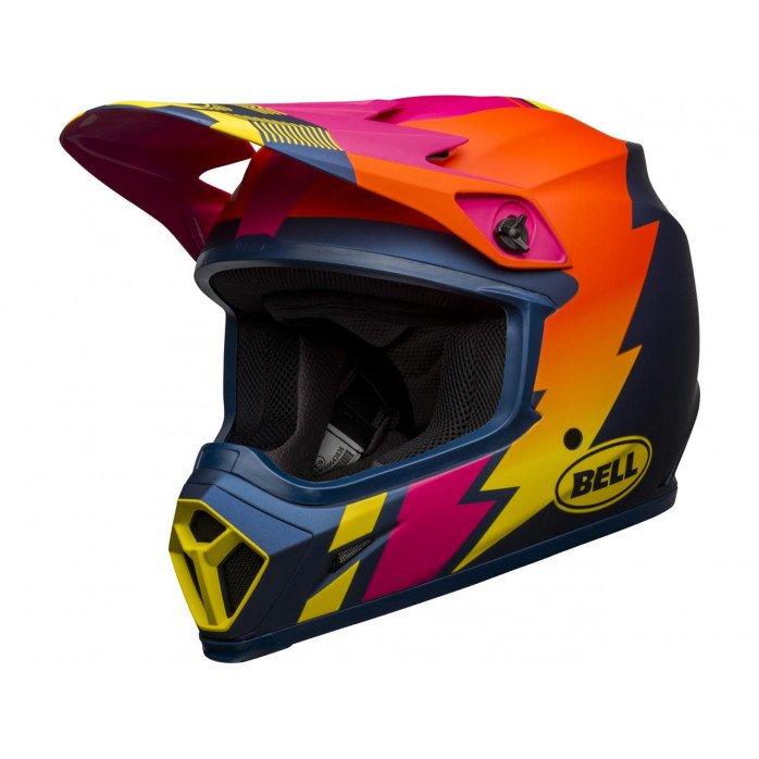 BELL MX-9 Mips Helmet Strike Matte Blue/Orange/Pink Size XL