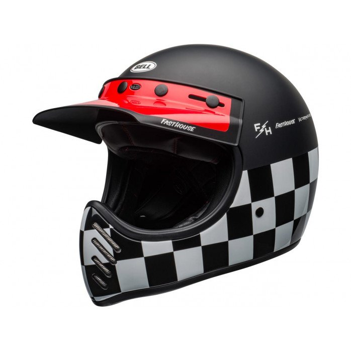 BELL Moto-3 Helmet Fasthouse Checkers Matte/Gloss Black/White/Red Size XS